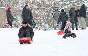 Sněhovou nadílku si v parku na Homolce užívali dospělí i děti.