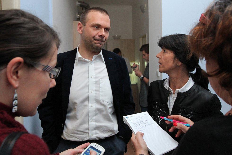 štáb ODS lídr kandidátky Ilona Mauritzová a náměstek primátora města Plzně Martin Baxa