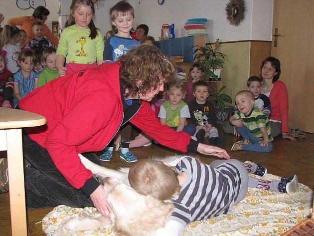 Děti z Mateřské školy ve Starém Plzenci měly ve sředu dopoledne o zábavu postaráno. Přímo k nim do třídy zavítali dva cvičení psi v doprovodu svých cvičitelů