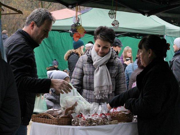 Adventní trhy v Centrálním parku v Plzni na Lochotíně.