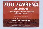 uzavřená ZOO pandemie koronavirus opatření