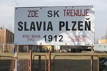 Tréninkový plac slávistů v areálu stavebního učiliště v Goldscheiderově ulici v Plzni