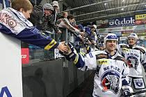 Ze zápasu 22. kola hokejové extraligy Plzeň - Liberec 2:3 v prodloužení.