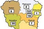 Mapa nákazy koronavirem v Plzeňském kraji - 27. března