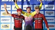Medailisté letošní Giant ligy (zleva): druhý Jan Ryba, vítěz Martin Boubal a třetí Richard Habermann.
