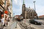 Výkopy na náměstí Republiky v Plzni