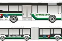 Vizuály nových vozidel pro obce Vejprnice a Tlučná, nahoře standardní dvanáctimetrový vůz, dole osmnáctimetrový článkový autobus.