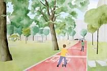 """ítězný návrh proměnil stávající objízdnou silnici, na které děti jezdí na kolech a odrážedlech, na """"sportovní dráhu""""."""