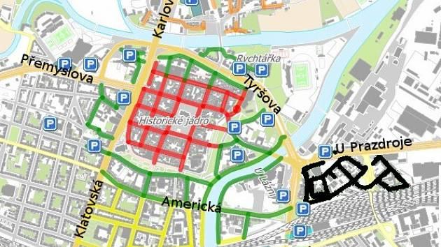 V červeně zvýrazněné zóně zaplatíte za hodinu 30 Kč, v zelené 20 Kč, ve žluté, oranžové (Roudná) a modré (Petrohrad) 10 Kč. Černě je zvýrazněna nová zóna u Hamburku), kde také zaplatíte 10 Kč za hodinu stání