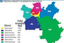 Trestná činnost v plzeňských obvodech