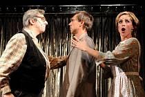 Bronislav Kotiš, Roman Vojtek a Soňa Borková hrají v muzikálu Miluju tě, ale... celou řadu postav. Při sobotní premiéře v plzeňském Komorním divadle pobavili diváky a snad i sebe