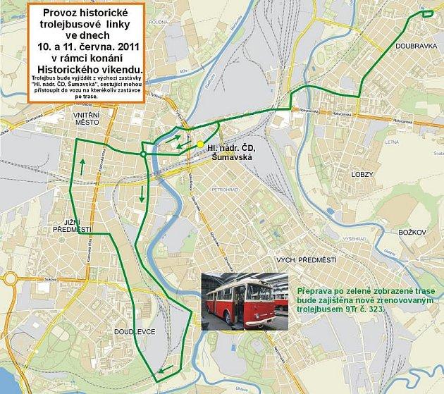 Mapka sobotní linky historického trolejbusu 9Tr č. 323