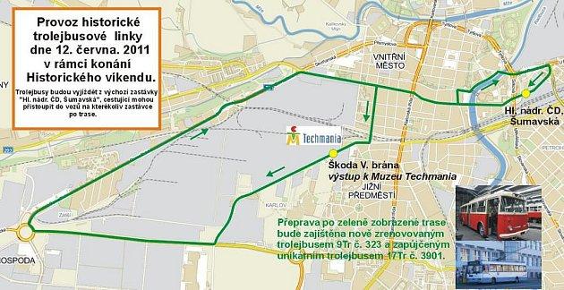 Mapka nedělní linky historických trolejbusů 9Tr č. 323a 17Tr