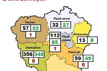 Barvy okresů nejsou dle covidového semaforu, jde o informativní mapu zveřejněnou KHS.