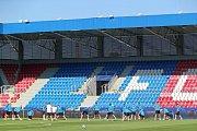 Trénink fotbalistů Viktorie Plzeň před zápasem s CSKA Moskva