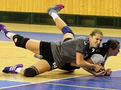 Veronika Mudrová bojuje o míč s Ladou Vaňkovou