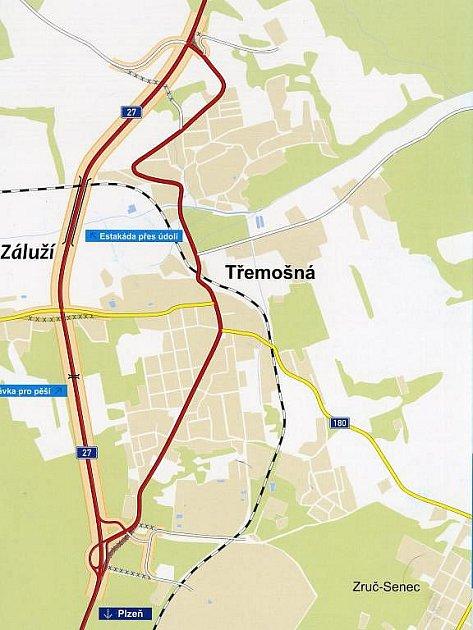 Původní silnice I/27 a její nová přeložka