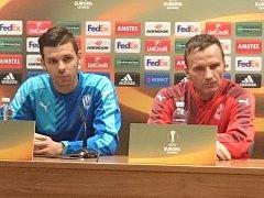Tisková konference před zápasem Viktorie Plzeň proti Rapidu Vídeň