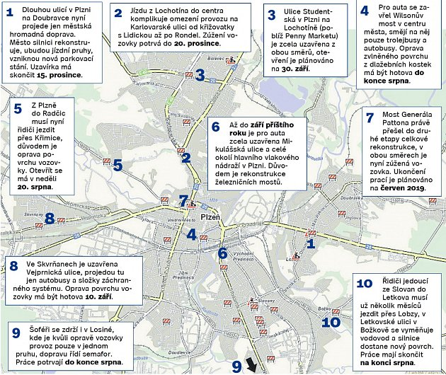 Mapa dopravních komplikací vPlzni