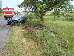 Osobní auto nabouralo několik stromů i plot