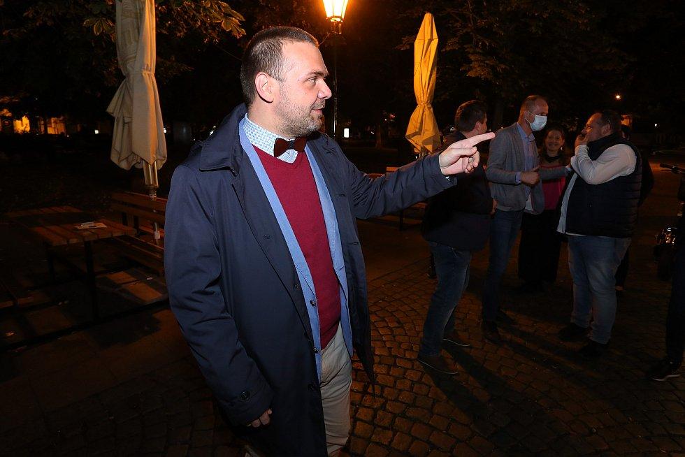 Volební štáb ODS+TOP09 v Plzni.