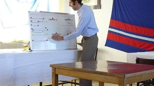 Hlavní koordinátor projektu Martin Januš (na snímku) vysvětluje zástupcům obcí, jak zařadit obyvatele do jednotlivých okruhů