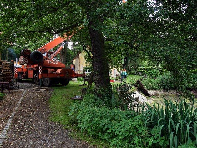 Luftovu zahradu v Doudlevcích obsadila minulý týden těžká technika. V horním rybníku odstraňuje nevzhledné panely, jež nahradí opěrná kamenobetonová zeď