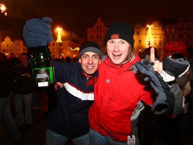 Krajská metropole zažila v noci na čtvrtek bujaré oslavy příchodu nového roku