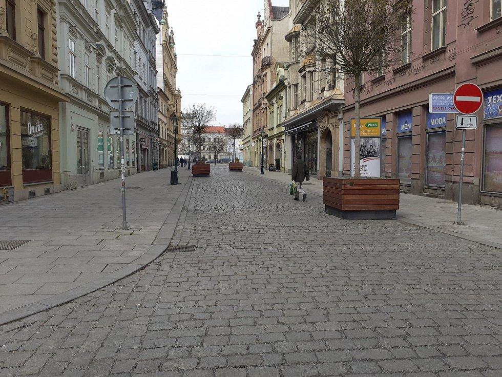 Centrum Plzně během lockdownu.