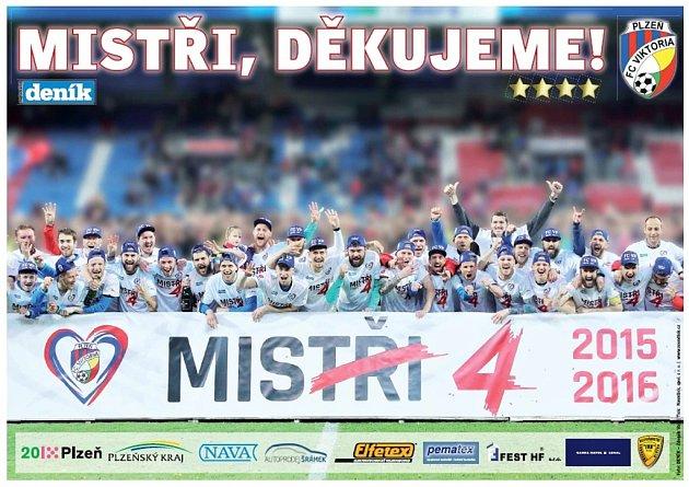 Plakát mistrovských fotbalistů FC Viktoria Plzeň