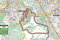 Mapka Škoda Bike Marathonu (na mapě je vyznačena jen část závodu)