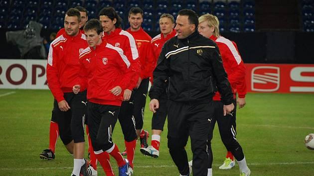 Trénink fotbalistů FC Viktoria Plzeň ve Veltins Areně