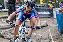 Juniorská reprezentantka Adéla Holubová na trati mistrovství Evropy v Brně.
