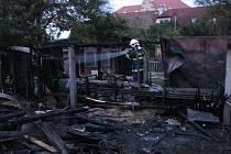 Požár kůlny v Červeném Hrádku