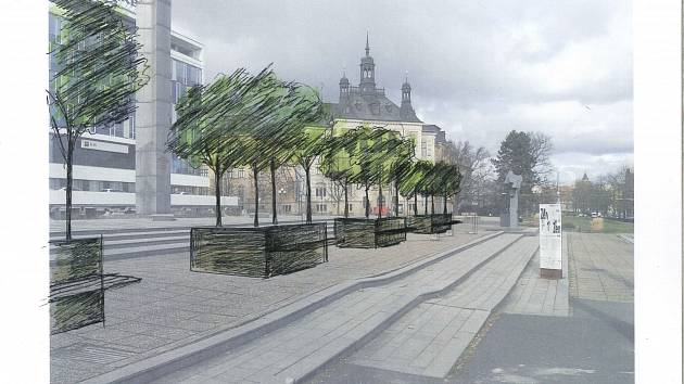 Návrh umístění stromů v nádobách před Komerční bankou.