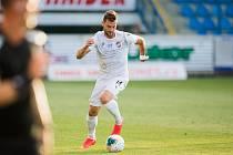 Radim Řezník, obránce plzeňské Viktorie při utkání v Liberci, kde zařídil jedinou brankou vítězství svého celku 1:0.