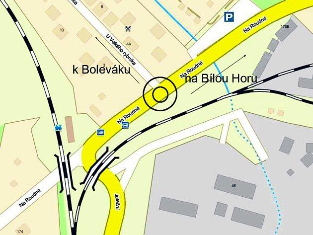 Na frekventované křižovatce pod Bílou Horou začne 19.března částečná uzavírka, vznikne tu totiž nový kruhový objezd. Svými rozměry přesáhne současnou šířku silnice