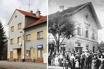 Současný snímek stavby, kterou pozná každý, kdo někdy nastupoval či vystupoval na nádraží v Plasích, jsme porovnali s dobovým, blíže nedatovaným záběrem pořízeným za Rakouska-Uherska
