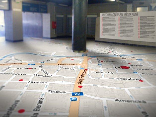 podlaha podchodu by mohla vypadat i jako velká mapa města