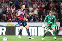 Michal Ďuriš se raduje poté, co překonal olomouckého brankáře Miloše Buchtu.