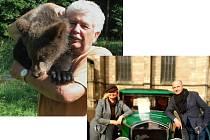 Václav Chaloupek je nejznámější díky večerníčkům se zvířaty, hlavně s medvědy. / Dagmar Terelmešová má  nejraději silné motorky, ale u historického vozu jí to také sluší (vpravo budoucí hejtman Josef Bernard).
