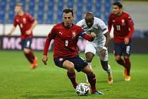 Čeští fotbalisté (v červeném) porazili v Plzni v utkání Ligy národů UEFA Izrael 1:0.