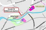 Mapa testovacího centra v Bavorské Železné Rudě.