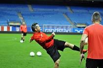 Trénink fotbalistů FC Viktoria Plzeň na stadionu v Madridu. Na snímku Pavel Horváth