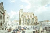 Jak vypadala věž po požáru, dokumentuje obraz Eduarda Gurka