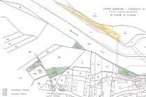 Lávka spojí břehy Berounky v Bukovci. Zeleně označené pozemky vymění město za žluté, které patří soukromé osobě.