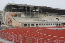 Výstavba atletického stadionu v Plzni