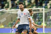 Slovenský útočník Michal Ďuriš se raduje po vstřelené brance do sítě Severního Irska (2:1).