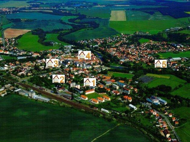 Letecký snímek města Stod