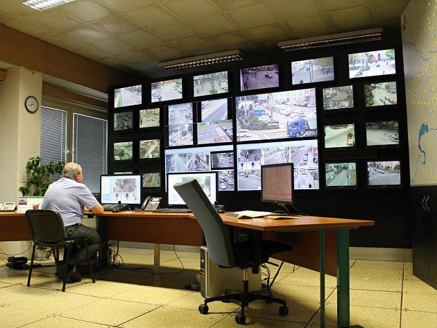 Operační středisko městského kamerového systému na Klatovské třídě v Plzni